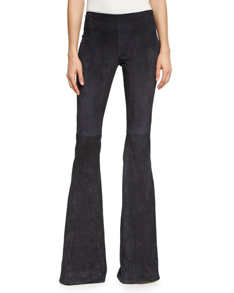 Suede Low-Rise Flare-Leg Pants, Black