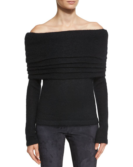 Brandon Maxwell Off-the-Shoulder Layered Sweater, Black