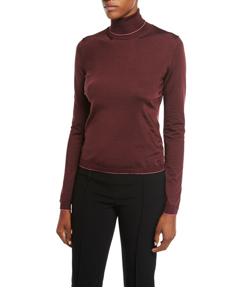 Silk-Blend Contrast-Trim Turtleneck Top