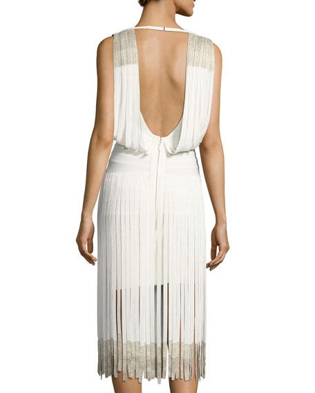 Drape-Front Lurex® Fringe Dress, Alabaster Combo