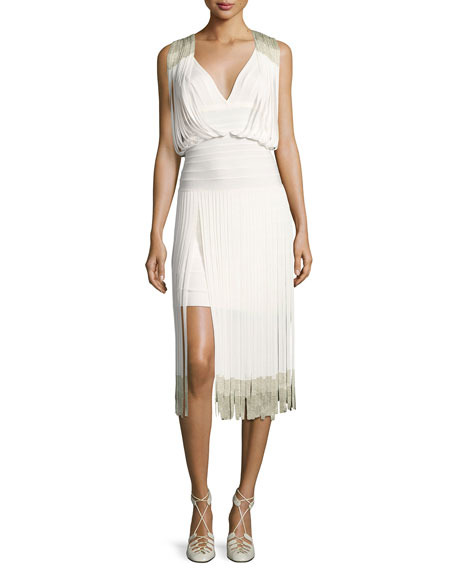 Herve Leger Drape-Front Lurex?? Fringe Dress, Alabaster Combo