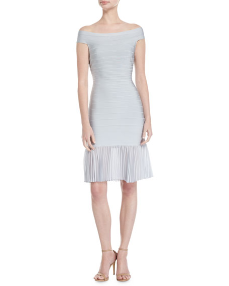 Off-the-Shoulder Bandage Dress with Chiffon Skirt, Pearl Blue