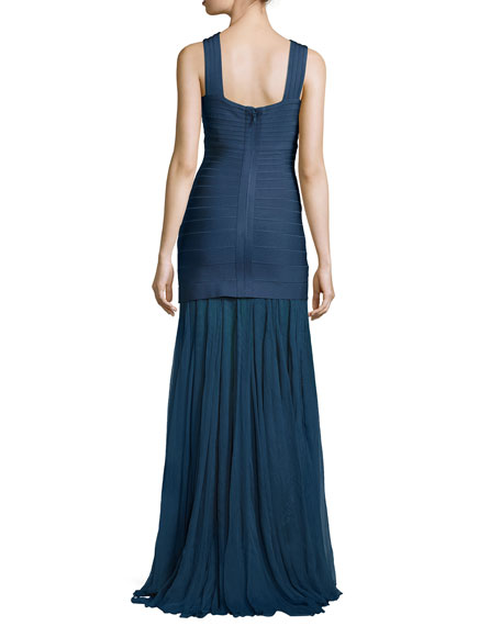 Sleeveless Keyhole Bandage Gown with Chiffon Skirt, China Blue