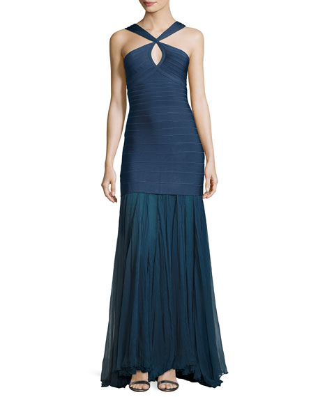 Herve Leger Sleeveless Keyhole Bandage Gown with Chiffon