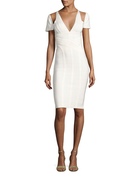Herve Leger Cold-Shoulder Bandage Dress, Alabaster