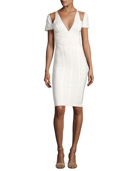 Herve Leger Cold-Shoulder Bandage Dress, Alabaster