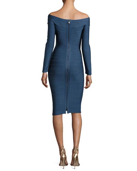Off-the-Shoulder Bandage Dress, China Blue