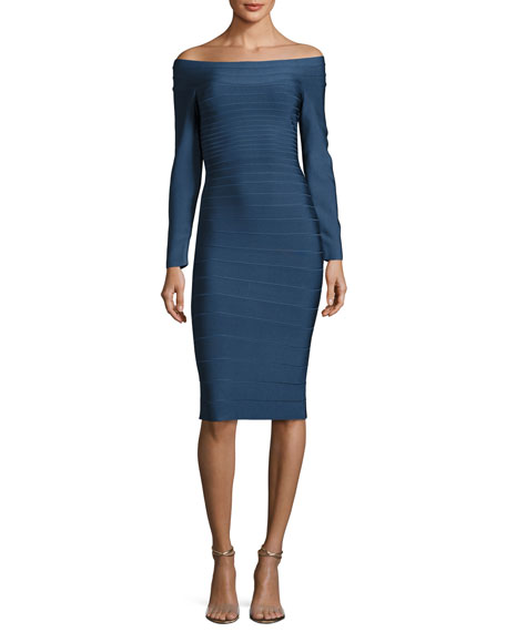 Herve Leger Off-the-Shoulder Bandage Dress, China Blue