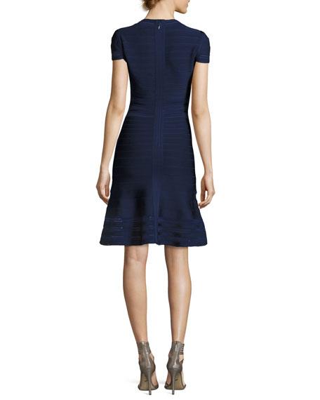 Picot-Trim V-Neck Bandage Dress