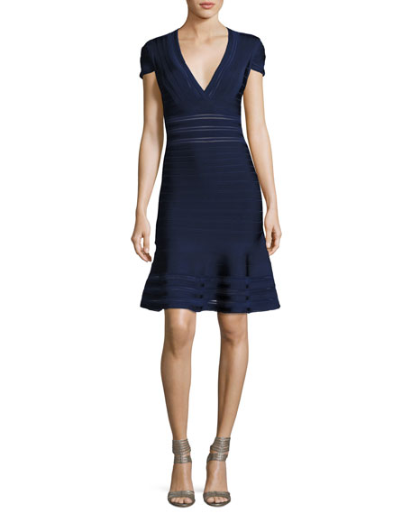Herve Leger Picot-Trim V-Neck Bandage Dress