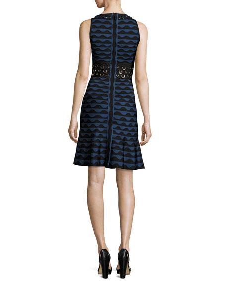 Scalloped Jacquard Ring-Trim Sleeveless Dress