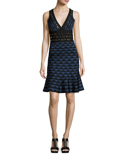 Scalloped Jacquard Ring-Trim Sleeveless Dress, China Blue Combo