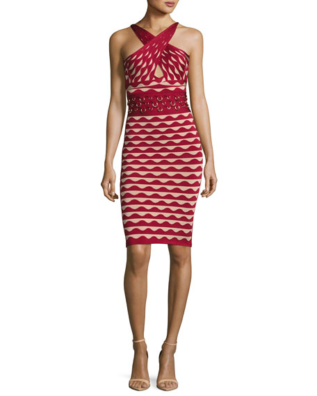 Herve Leger Scalloped Jacquard Crossover-Neck Dress with Rings,