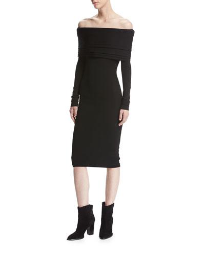 Venus Knit Off-the-Shoulder Layered Dress, Black