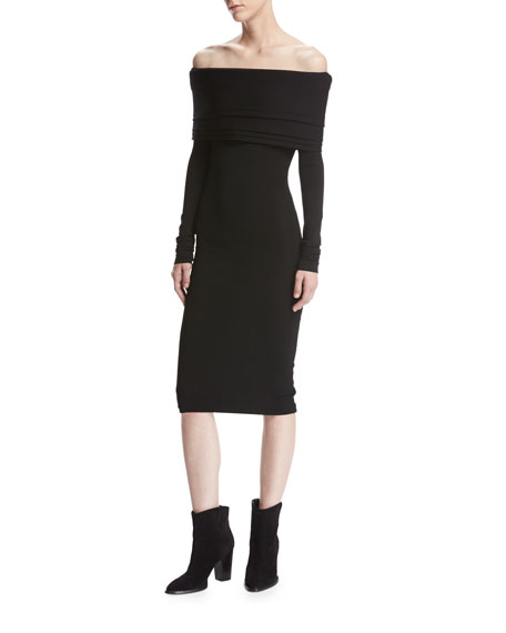 Brandon Maxwell Venus Knit Off-the-Shoulder Layered Dress, Black