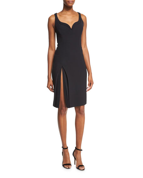 Brandon Maxwell Sleeveless Sweetheart Petal-Detail Dress, Black