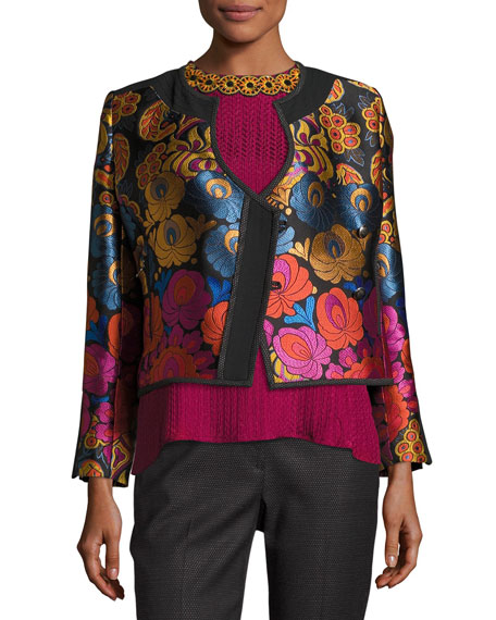 Floral Brocade Fencing Jacket, Black
