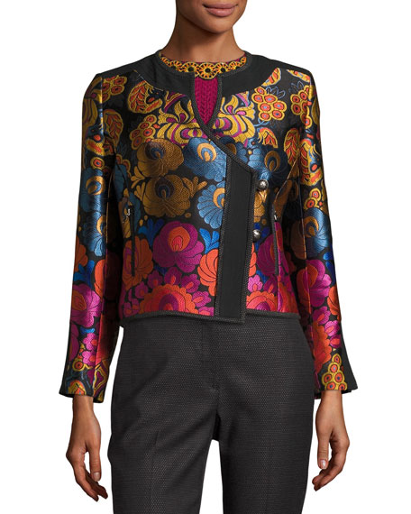 Etro Floral Brocade Fencing Jacket, Black and Matching