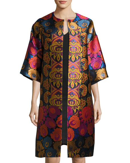 Etro Floral Brocade Sleeveless A-Line Dress, Black and