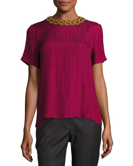 Plissé Jacquard Embellished Blouse, Pink