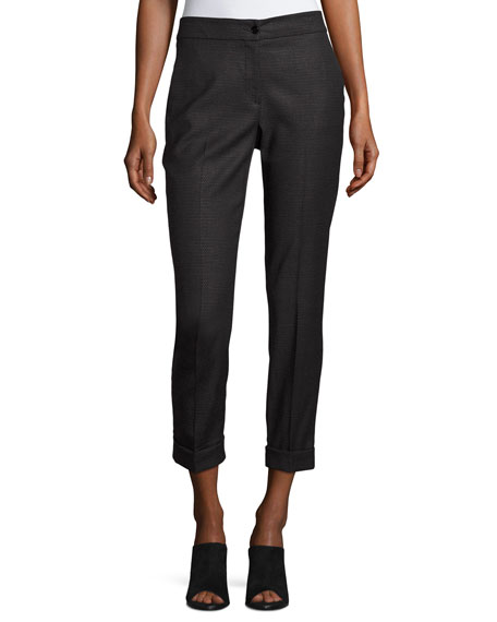 Etro Mini-Dobby Cropped Straight-Leg Pants, Gray
