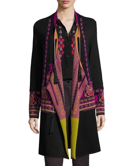 Floral Intarsia Long Wrap Sweater, Black
