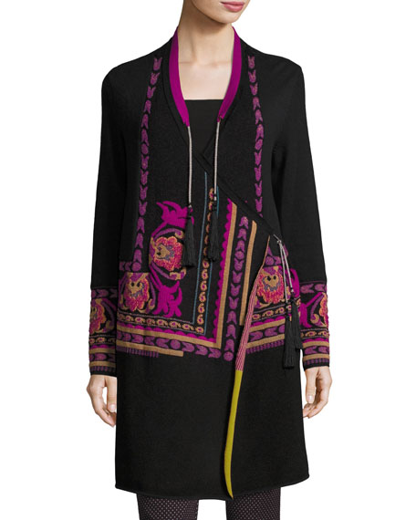 Etro Floral Intarsia Long Wrap Sweater, Black and