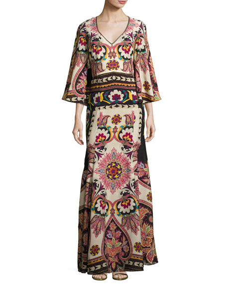 Etro Paisley Cutout-Back Bell-Sleeve Gown, Ivory/Black/Bright