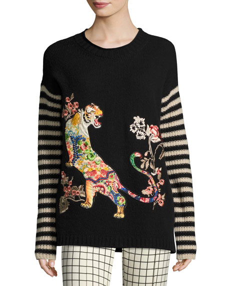 Etro Striped-Sleeve Tiger-Embroidered Wool Sweater, Black and