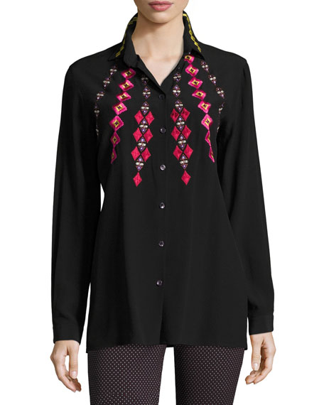 Etro Geometric Embroidered Shirt, Black