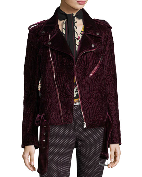 Etro Quilted Velvet Moto Jacket, Purple