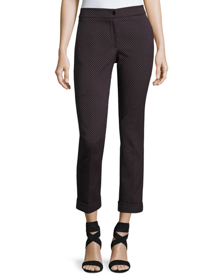 Etro Dobby Cropped Straight-Leg Pants, Gray and Matching