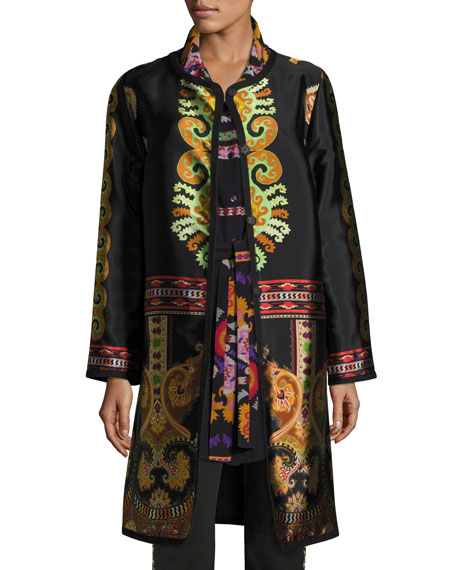 Suzani Printed Silk Faille Car Coat, Black