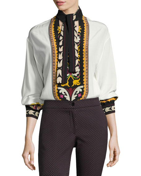 Etro Printed Silk Tie-Neck Blouse, Ivory