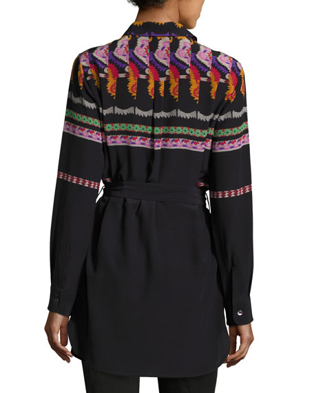 Suzani-Print Belted Silk Tunic Blouse, Black