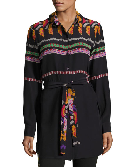 Etro Suzani-Print Belted Silk Tunic Blouse, Black