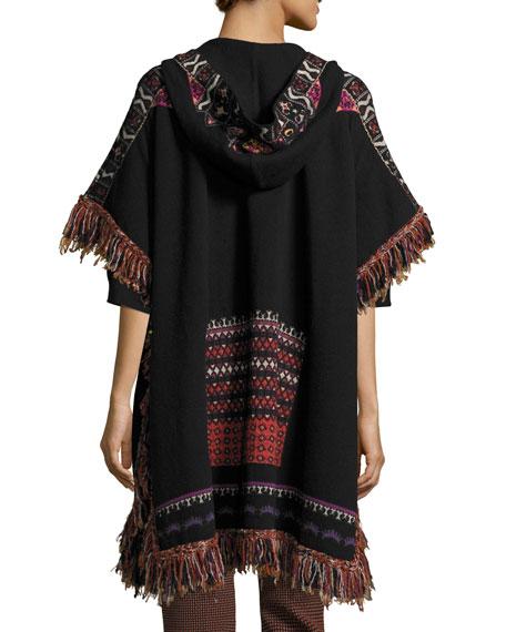 Hooded Short-Sleeve Intarsia Poncho with Fringe, Black