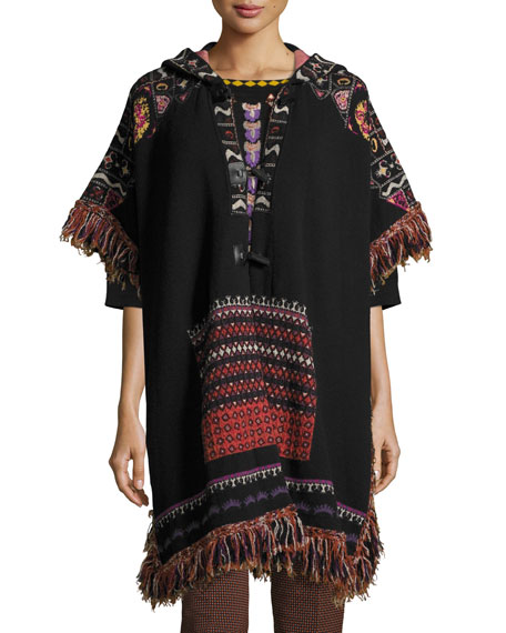 Etro Hooded Short-Sleeve Intarsia Poncho with Fringe, Black