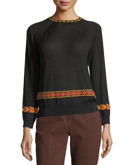 Etro Intarsia 3/4-Sleeve Sweater, Black