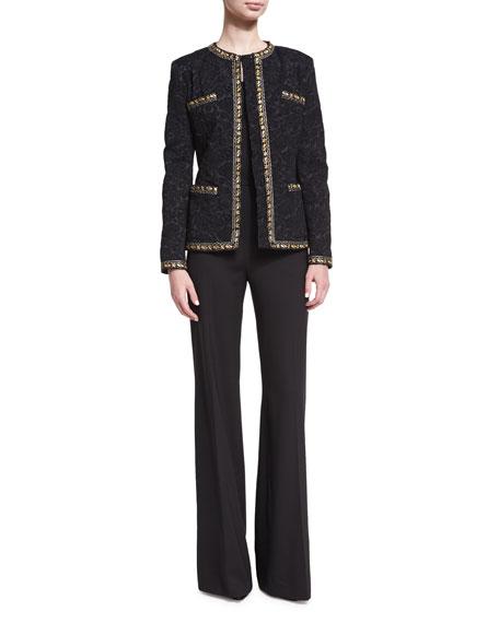 Largo Wool High-Waist Wide-Leg Pants, Black