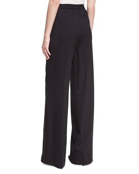 Etro Largo Wool High-Waist Wide-Leg Pants, Black and