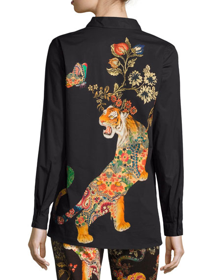 Tiger-Print Stretch Cotton Shirt, Black