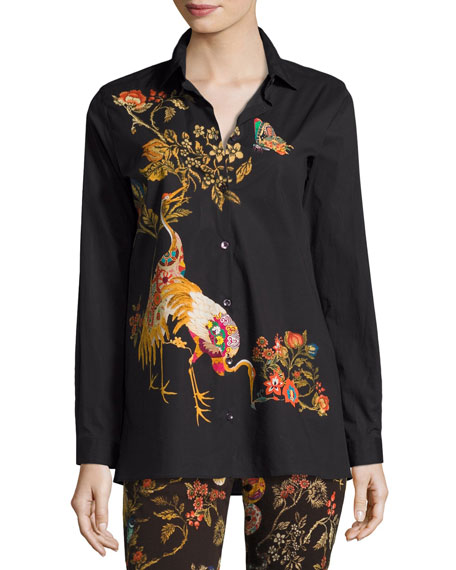 Etro Tiger-Print Stretch Cotton Shirt, Black