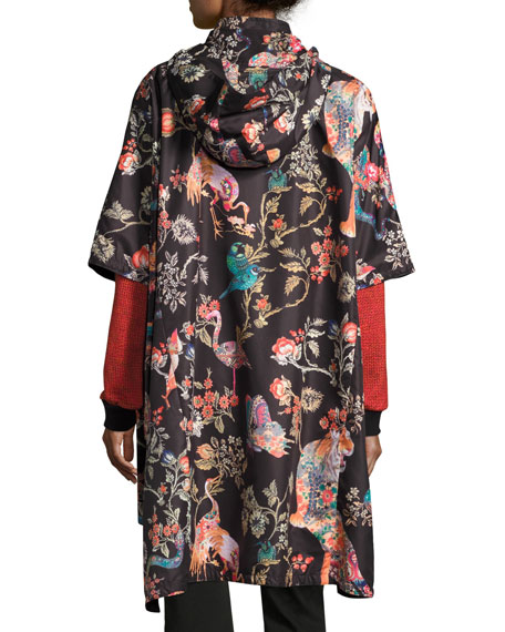 Tiger & Floral Print Raincoat, Black