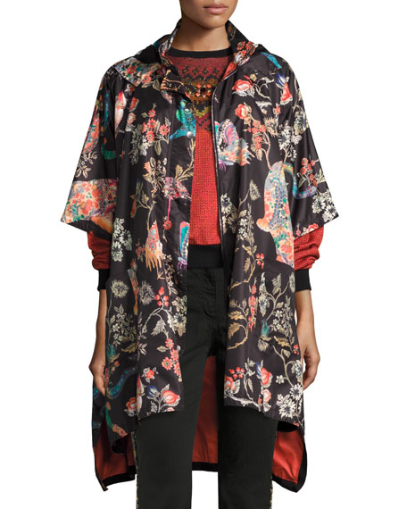 Etro Tiger & Floral Print Raincoat, Black