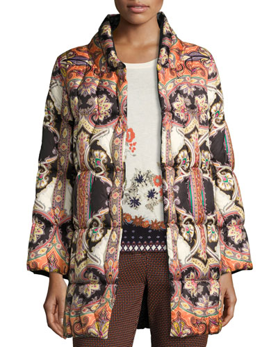 Paisley Quilted Puffer Coat, Black