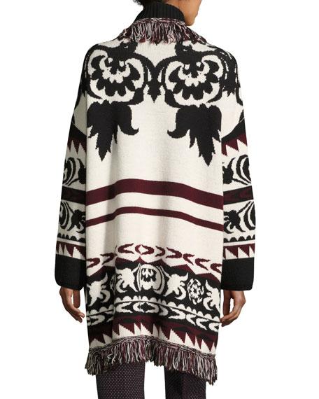 Fringe-Trim Geometric Wool Long Cardigan, Ivory