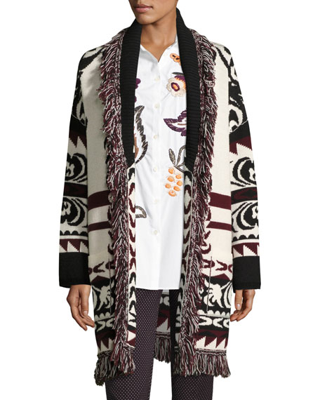 Etro Fringe-Trim Geometric Wool Long Cardigan, Ivory
