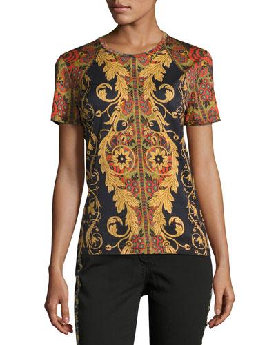 Vine Paisley Cotton T-Shirt, Black