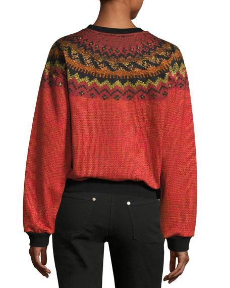 Jewel-Embellished Geometric Crewneck Sweatshirt, Orange